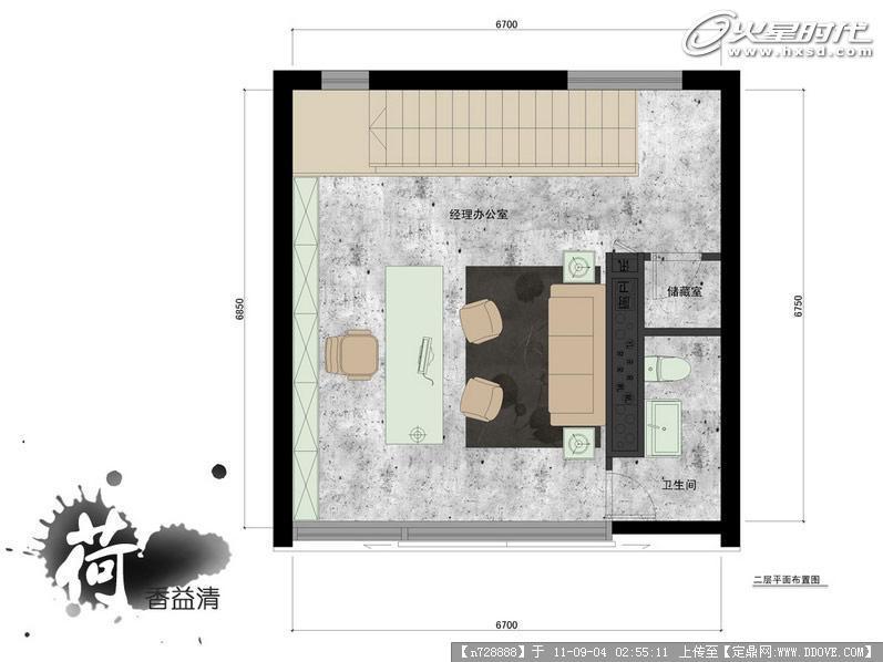 二层平面布置-深圳品空间工作室室内设计; 熊凯设计作品:简约设计办公