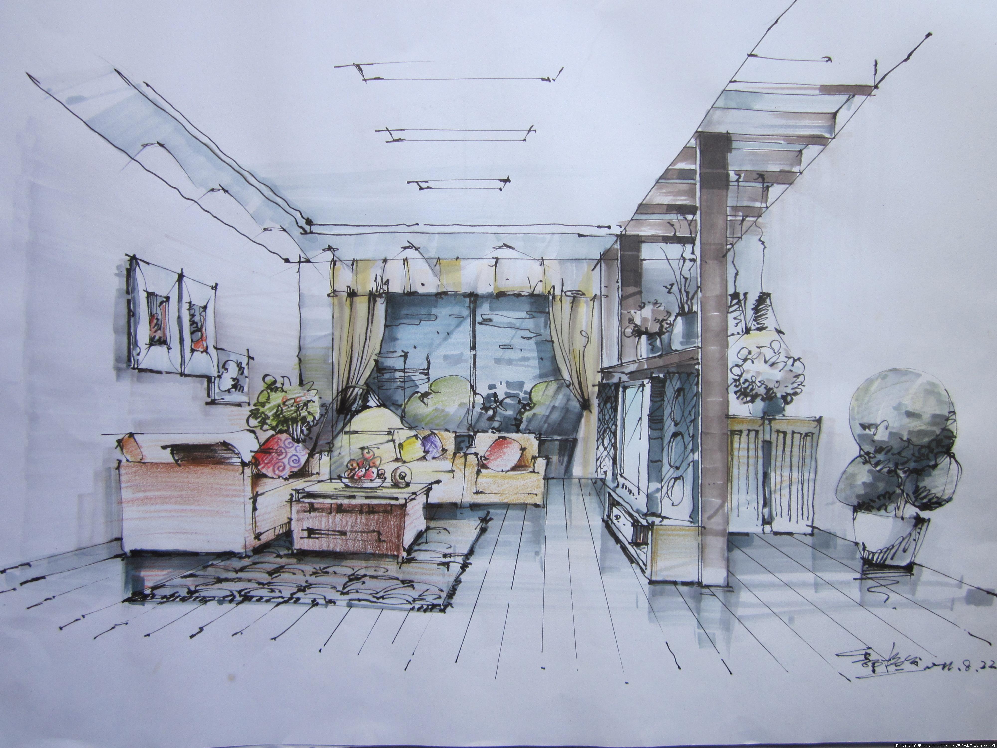 室内装修设计效果图,室内设计彩铅效果图,彩铅室内效果图,室