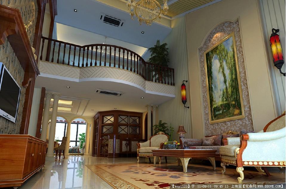 欧式复式别墅室内装修效果图图片