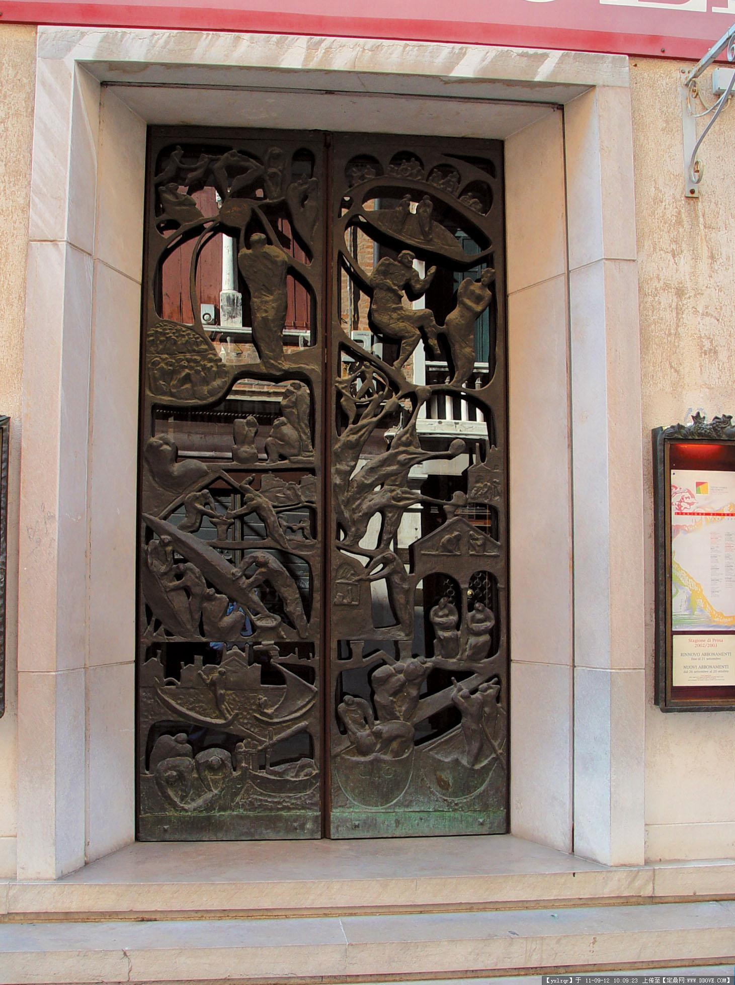 欧洲古典建筑景观 金属造型门