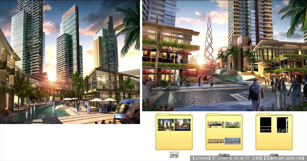 商住小区商业街效果图max模型及贴图源文件