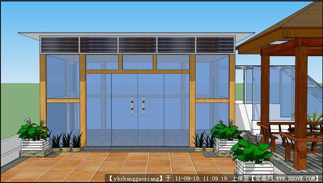 屋顶花园玻璃房效果图