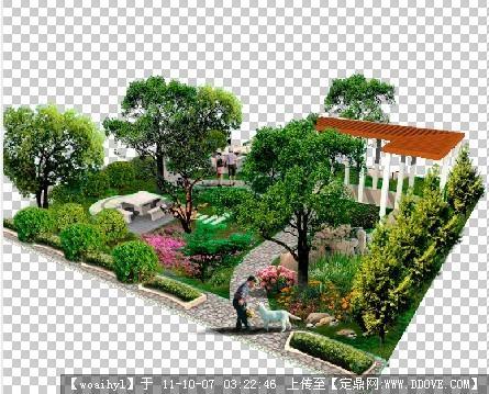 9m*9m天井景观绿化设计psd效果图的下载地址,园林效果