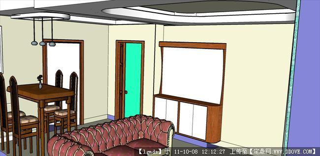 小平方单元楼 客厅餐厅-站在客厅阳台门位置看进户门副本.
