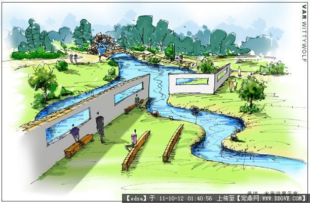 景观建筑手绘效果图