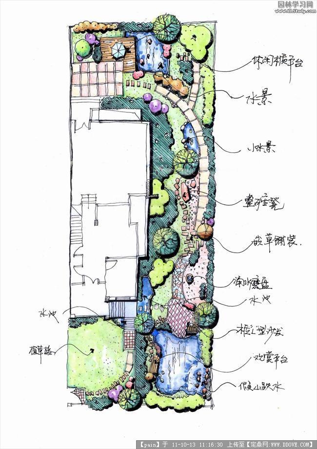 庭院设计平面手绘图