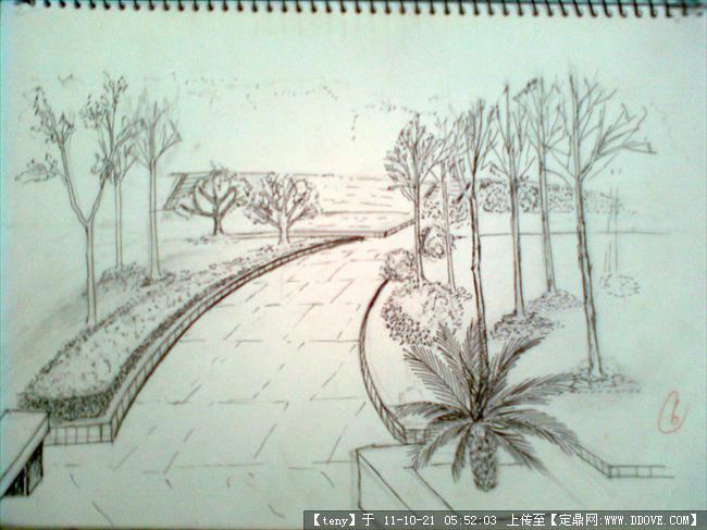 手绘图片-花园一角