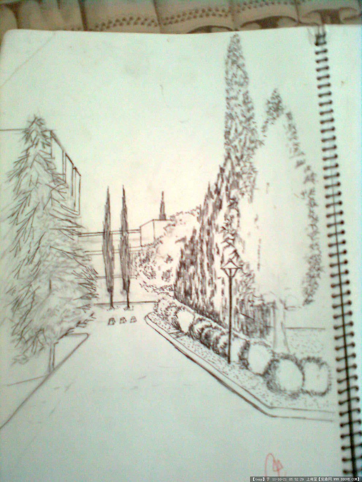 手绘图片-校园小路原始尺寸:1200