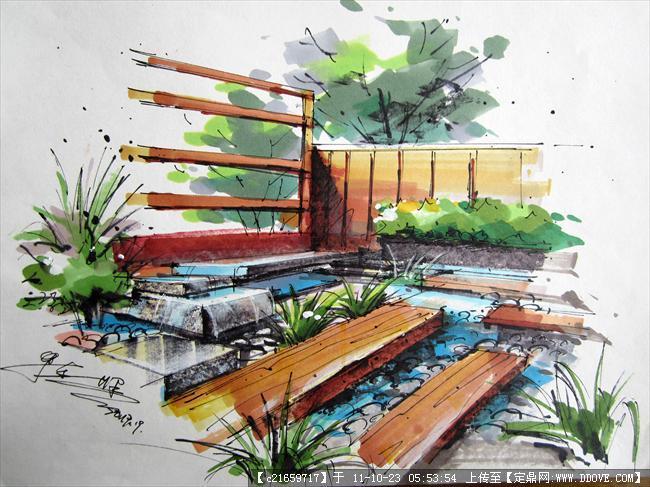 园林效果图,手绘效果,园林景观设计施工图纸资料下载