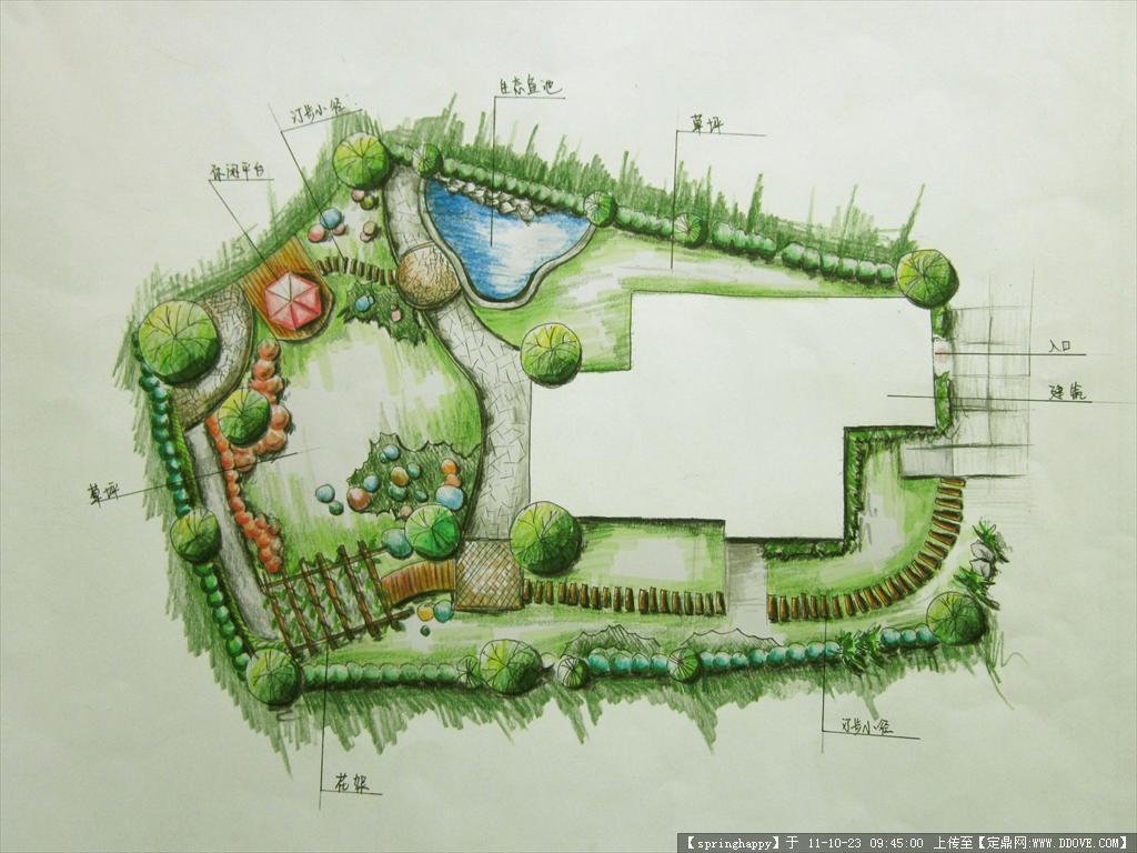 园林景观平面图手绘 手绘小区景观平面图 公园景观手绘平面图