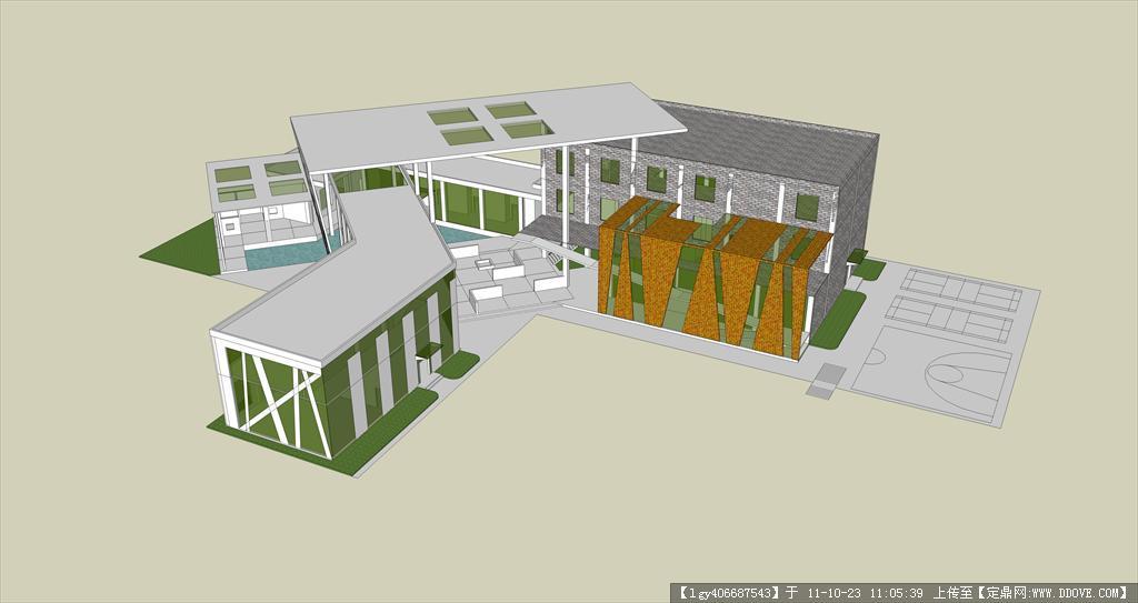 定鼎网 定鼎素材 sketchup草图大师模型 建筑室内 社区活动中心设计su