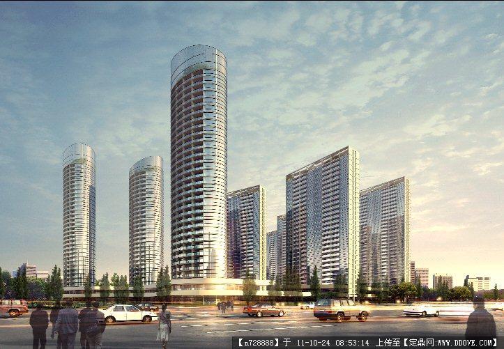 某城市高层住宅小区建筑效果图psd格式
