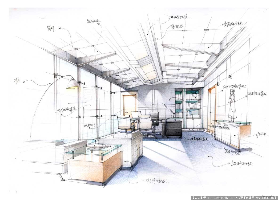 别墅室内设计-手绘效果图4张