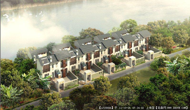 某滨水别墅建筑设计鸟瞰效果图psd格式