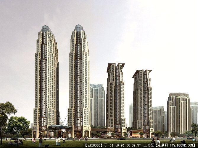 某塔式居住建筑设计效果图psd格式图片