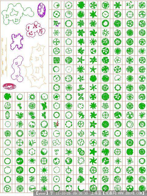 超全植物平面图例的下载地址,cad图块,植物,园林建筑