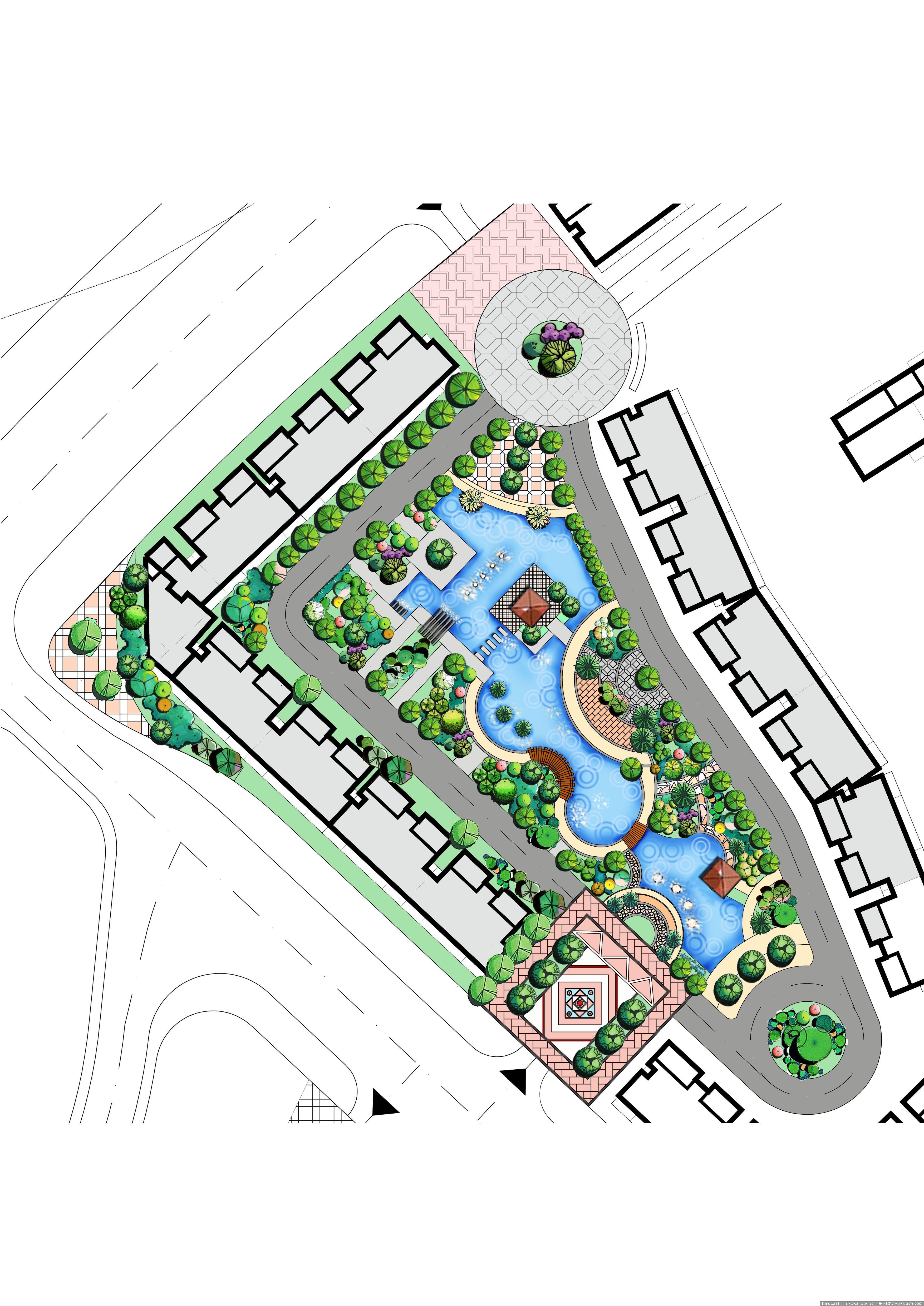 经典园林景观设计手绘平面图41
