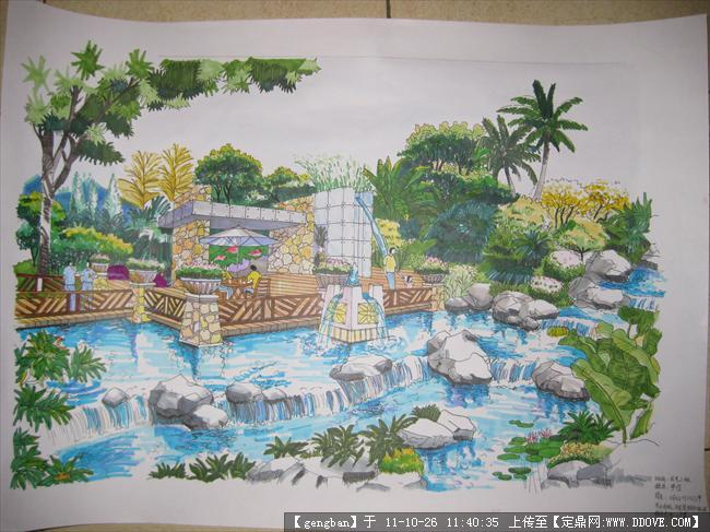 园林手绘水景效果图