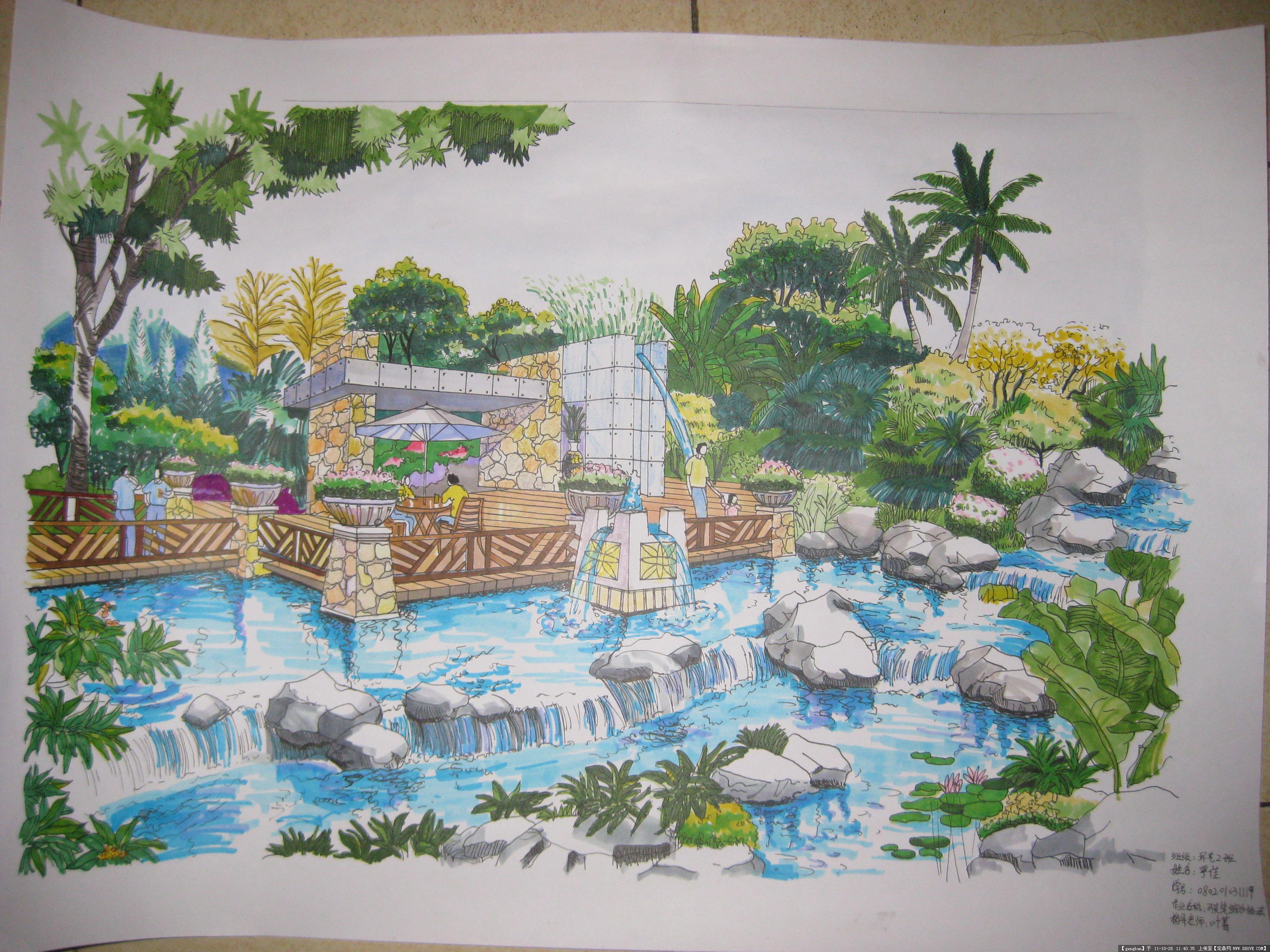 园林手绘水景效果图的图片浏览,园林效果图,滨水景观