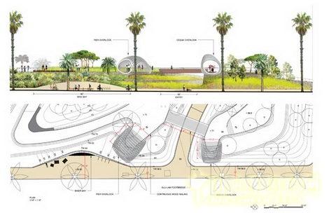 公园长凳手绘三视图
