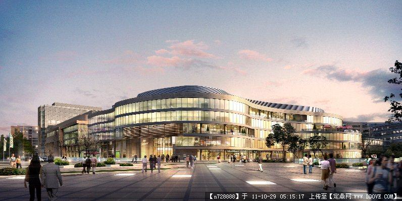 某购物中心弧形建筑设计夜景效果图psd格式