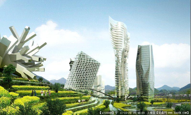 mad在贵阳郊区设计的cbd建筑方案 建筑效果图图片 源文