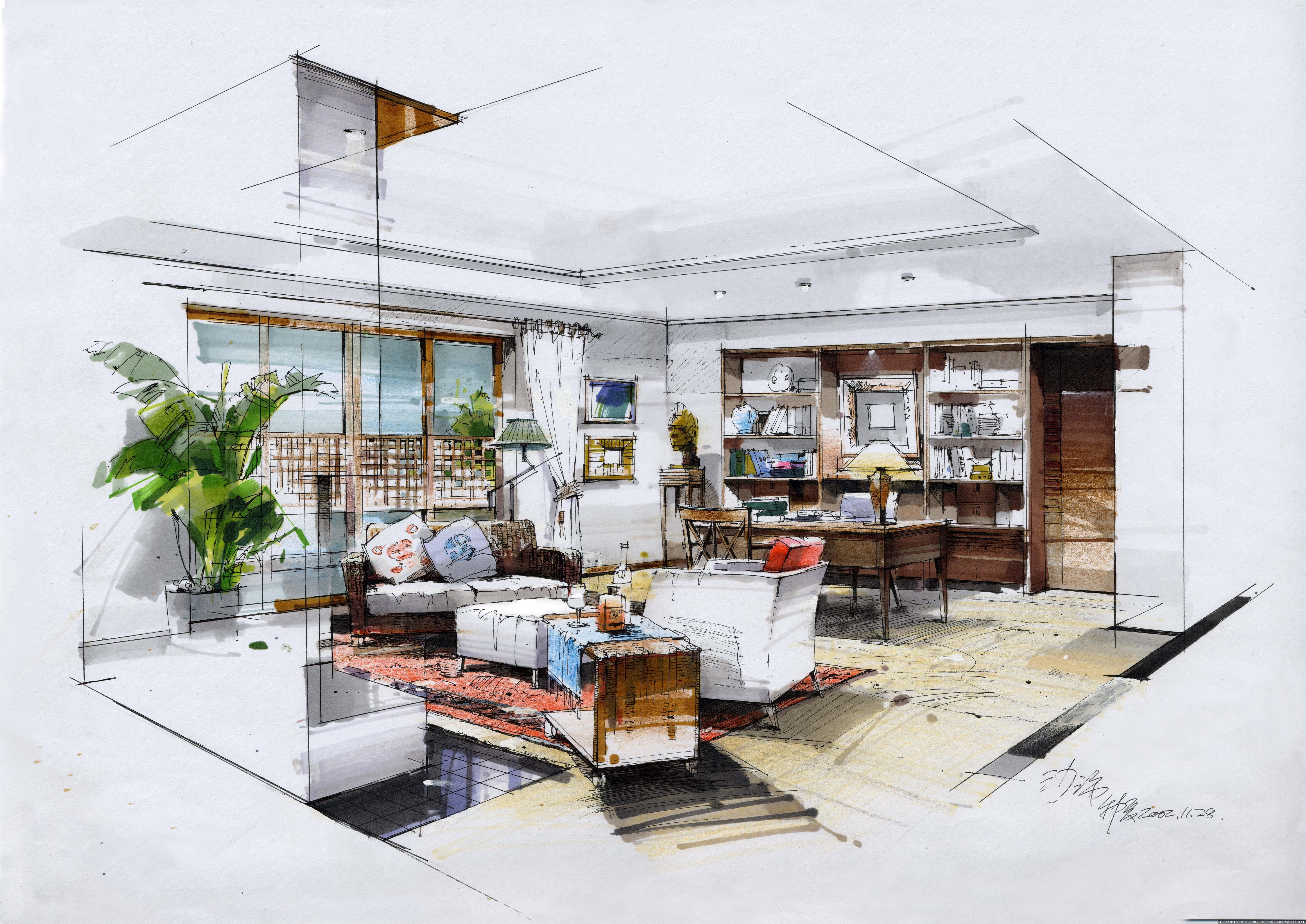 沙沛室内手绘效果图的图片浏览,室内效果图,住宅样板,室内装饰设计施工