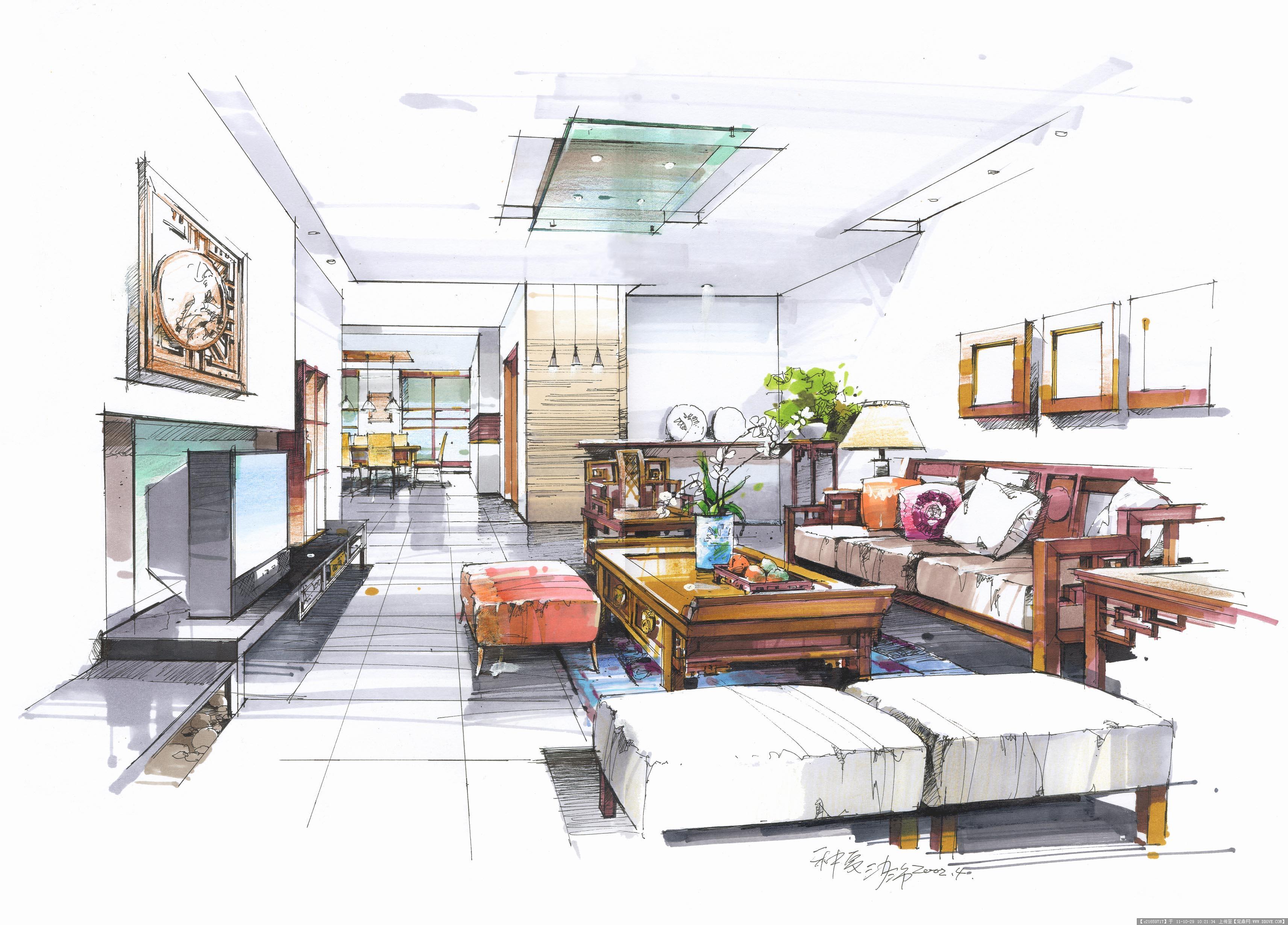 沙沛室内手绘效果图的图片浏览,室内效果图,住宅样板