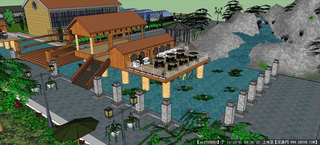 草图大师自制山水园林景观su模型