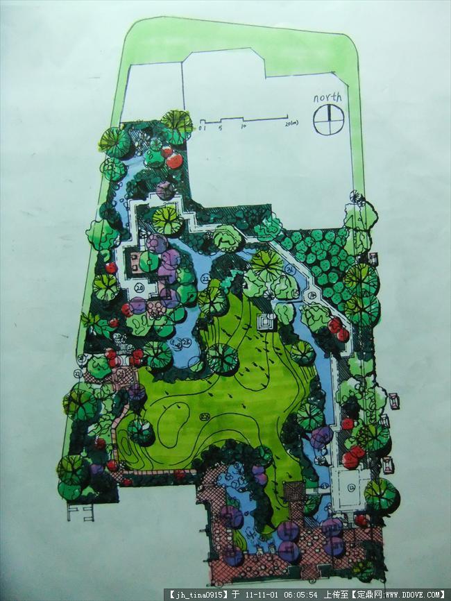 园林景观植物平面图_景观平面图三张-自己手绘的景观平面图