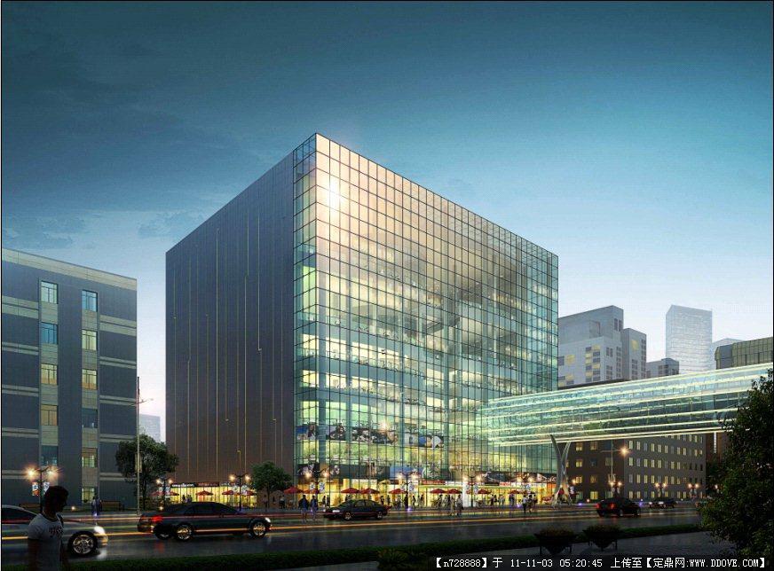 玻璃建筑效果图_某玻璃幕墙办公楼建筑夜景效果图PSD源文件