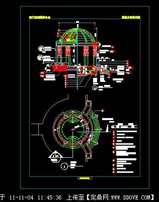 欧式圆顶亭施工图图片