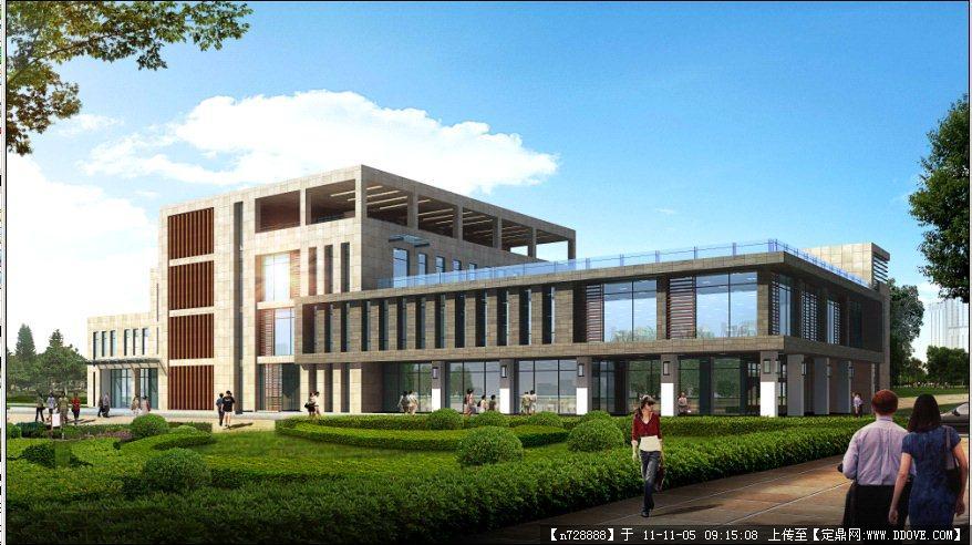 某学校教学楼建筑效果图psd源文件