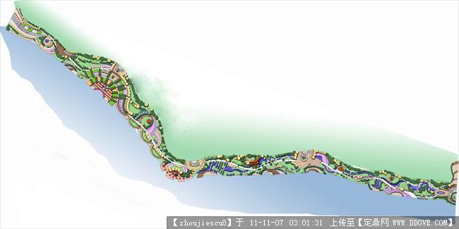 带状公园手绘平面图 带状绿地设计平面图 公园带状绿化平面图 滨水