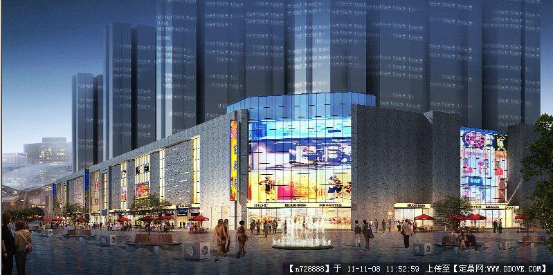 某商业街建筑效果图夜景1psd格式