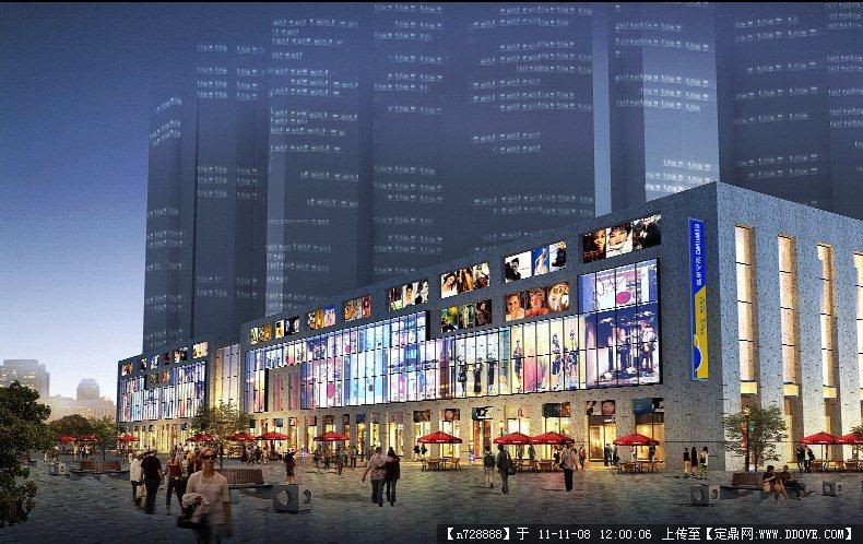 某商业街建筑效果图夜景3psd格式