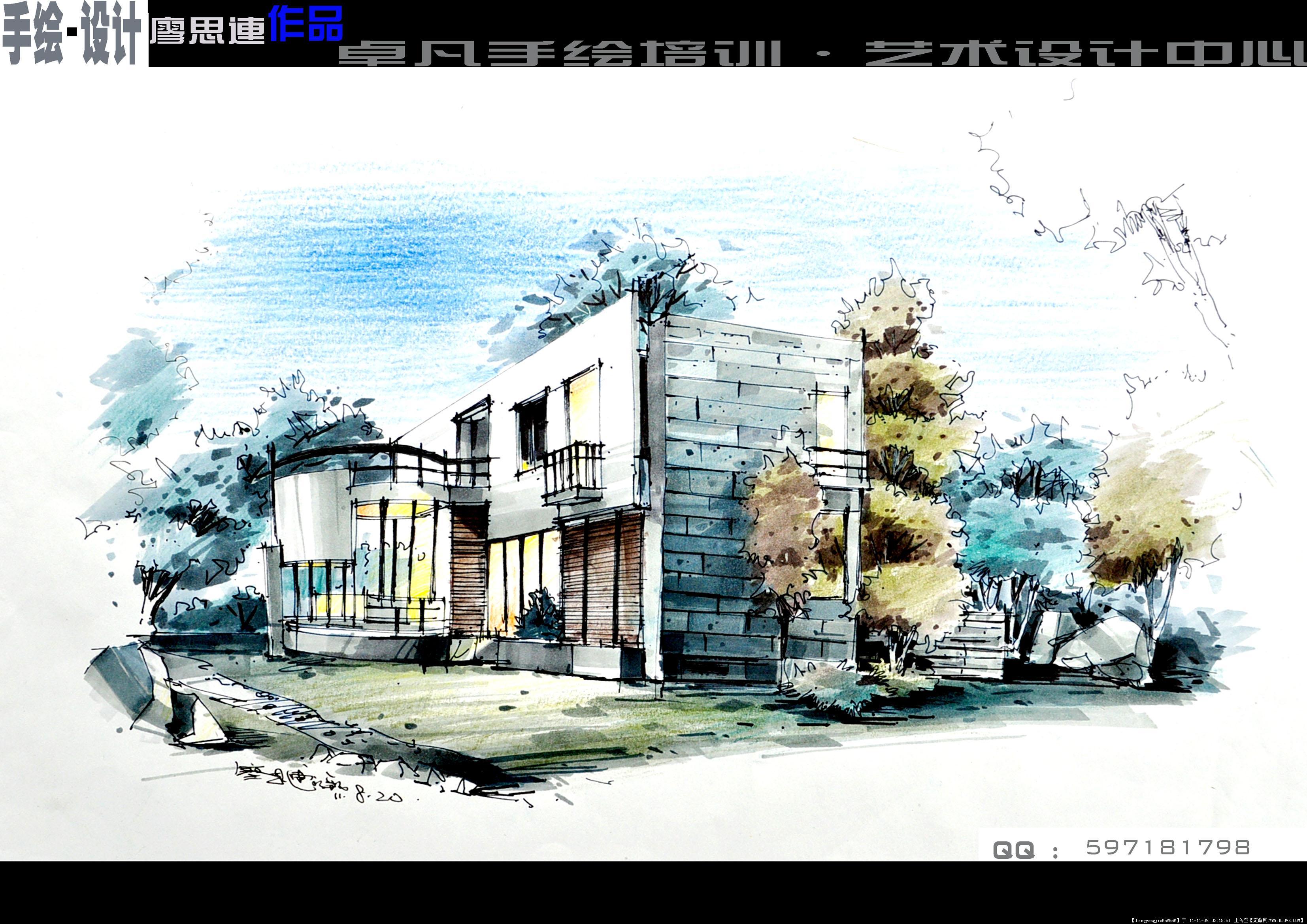手绘作品 中国古城建筑图