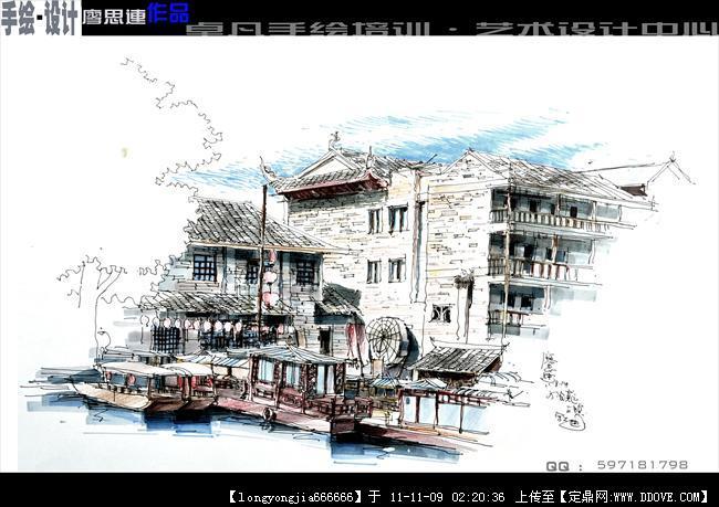 手绘作品 中国古城局部建筑效果图