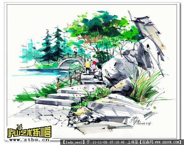古典园林手绘效果图图片 园林景观手绘效果图,园林手绘效果