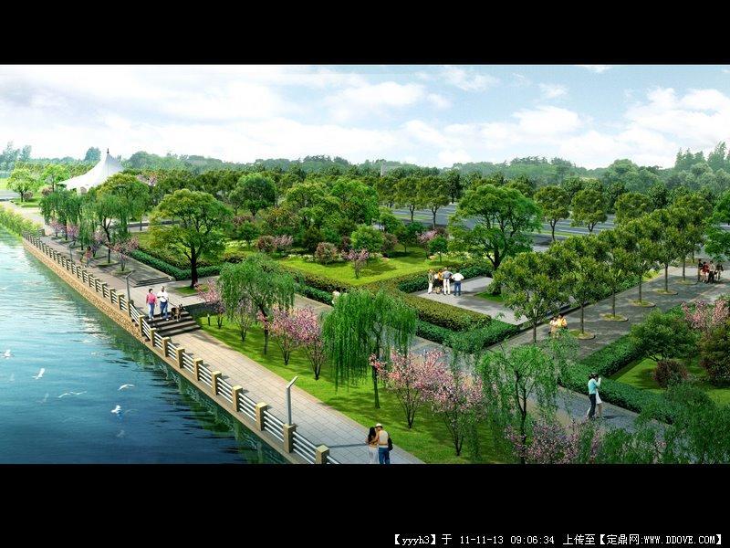 景观滨河效果图