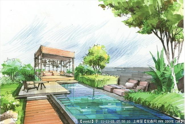 别墅手绘效果图3张-中图的图片浏览,园林效果图,花园