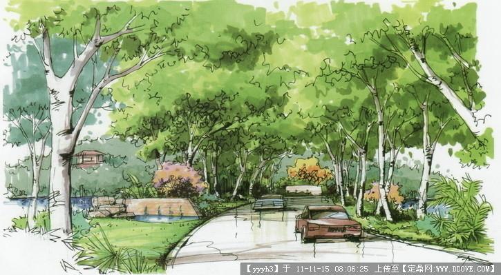 滨河公园手绘效果图7张-中图