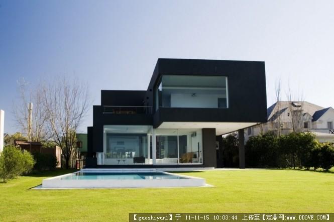 阿根廷黑色现代别墅设计的下载地址,建筑方案图纸,,.