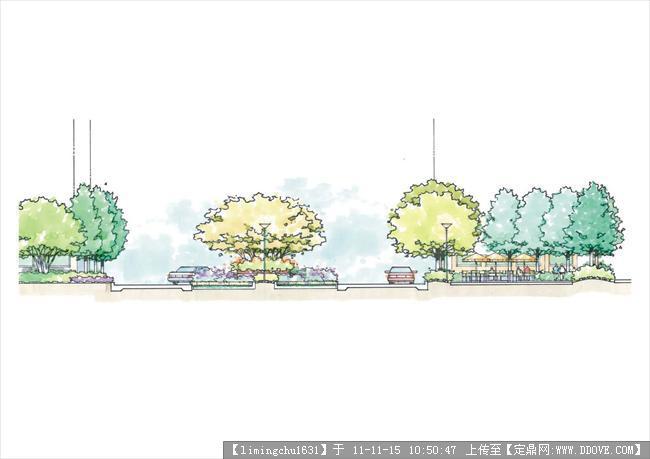 美国某事务所景观设计设计手绘图