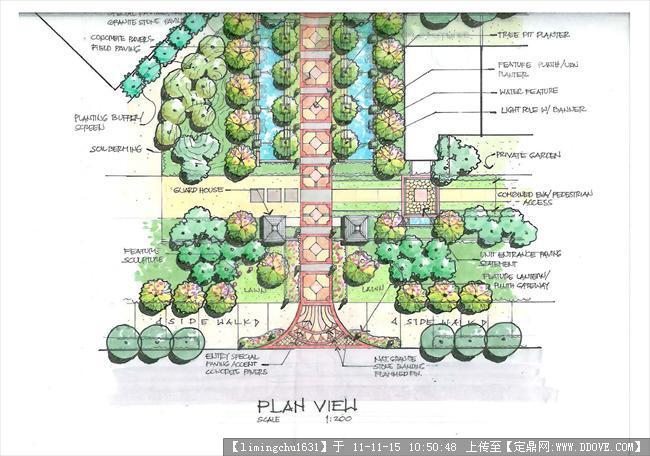 美國某事務所景觀設計設計手繪圖