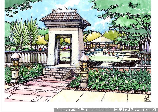美国某事务所景观设计设计手绘图的下载地址,园林效果