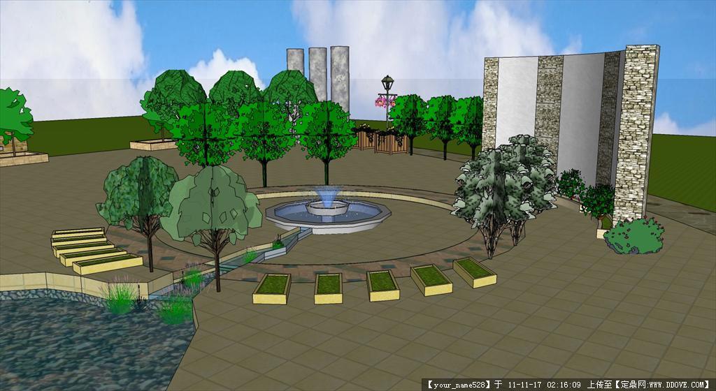 扇形喷泉广场su模型