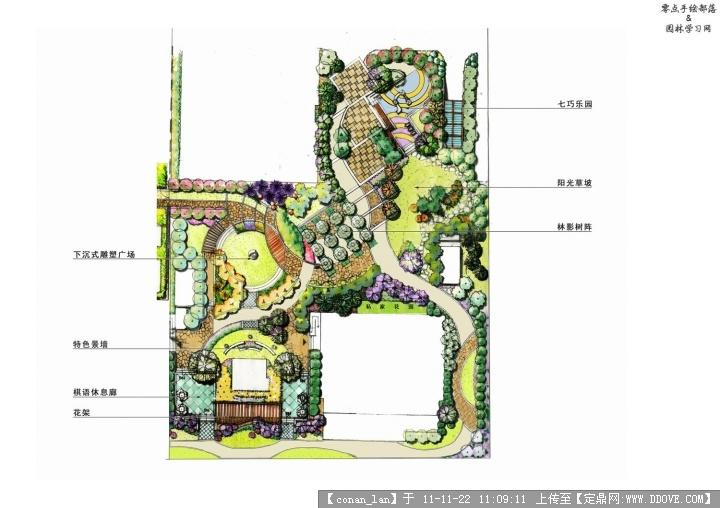 别墅景观设计平面图的图片浏览,园林效果图,花园庭院,园林景观设计施工图纸资料下载_定鼎园林
