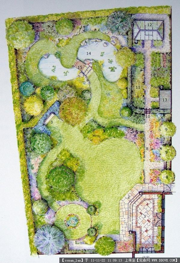 景观手绘效果图平面图-景观园林设计平面图
