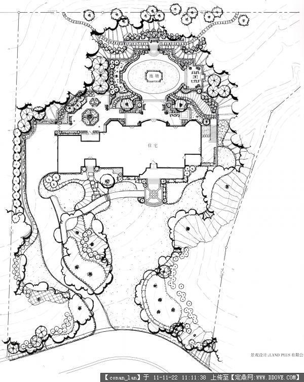 别墅景观设计平面图的图片浏览